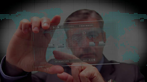 Businessman using touchscreen Stock Video Footage