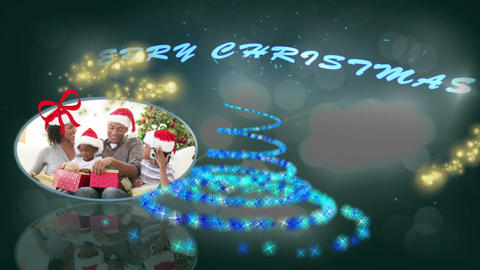 Families at christmas montage with text Stock Video Footage