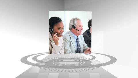 Call centre and business montage Stock Video Footage