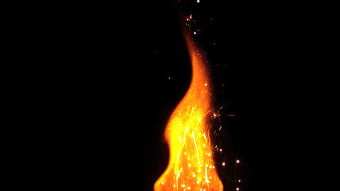 Large flame with sparks Stock Video Footage