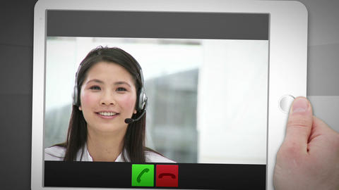 Montage of a tablet showing a call centre situatio Animation