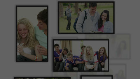 Montage of students clips into frames Stock Video Footage