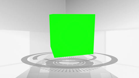 Montage of green screens in a cube Stock Video Footage