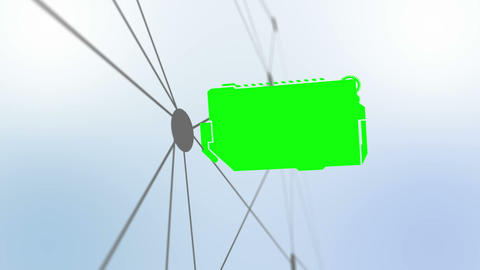 Montage of green screens on a futuristic plan Animation