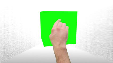 Montage of green screens in a cube interaction as a tablet Animation
