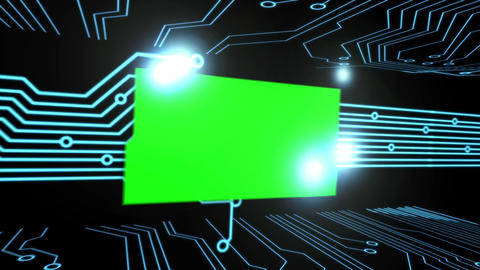 Montage of green screens on a circuit board Footage