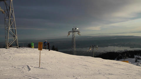 pan from grouse ski run with sunset Stock Video Footage