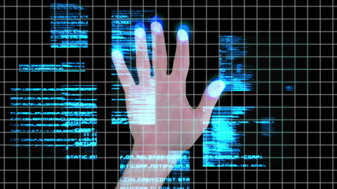 Futuristic hand scan idenification technology Animation
