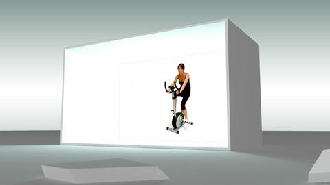 Grey cube exploding to reveal fitness montage Stock Video Footage
