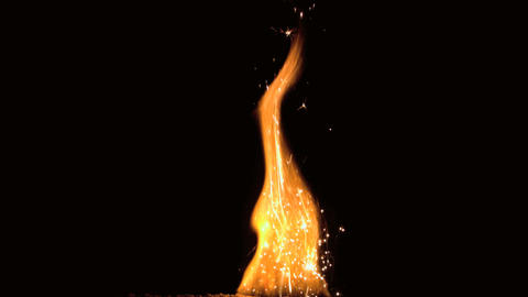Large flame with sparks on black background Footage