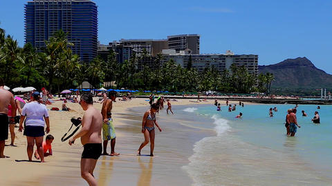 people hanging out at the waikiki beach - diamong  Footage