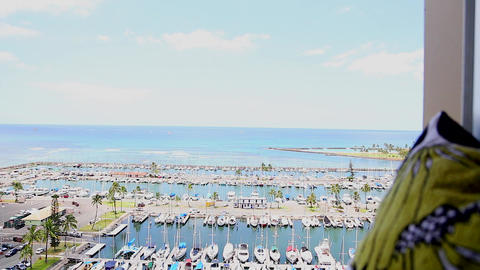 dolly penthouse aerial of waikiki harbour Stock Video Footage