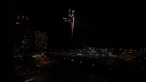 57 seconds of evening fireworks at hilton lagoon Footage