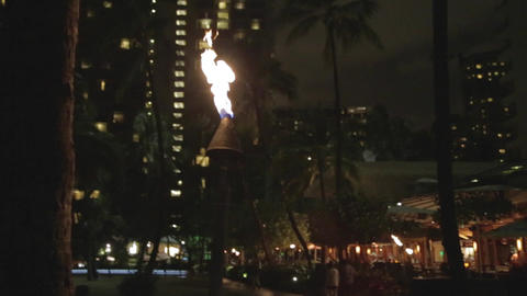 waikiki nightlife - fire pillars light walkway Stock Video Footage