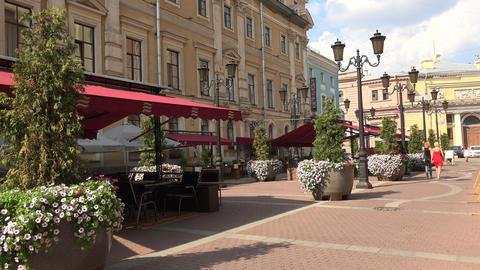Malaya sadovaya street in St. Petersburg. 4K Footage