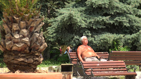 Fat man sitting on the bench sunning. 4K Footage