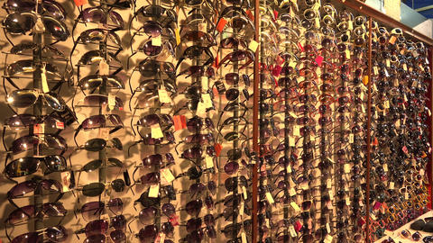 Shop with sunglasses. 4K Stock Video Footage