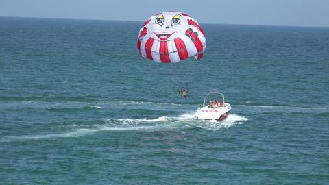 Balloon, Parachute Over The Sea. 4K stock footage