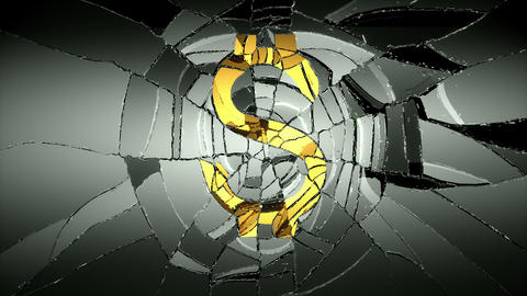 4K Glass and golden dollar symbol shattered slow m Animation