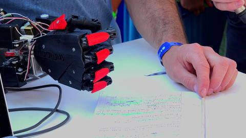 Electronic prosthetic arm. 4K Stock Video Footage