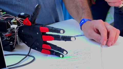 Electronic prosthetic arm. 4K Footage