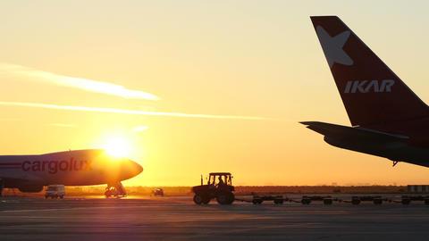 4K UHD Stock footage Airfield at Beautiful Sunrise Footage