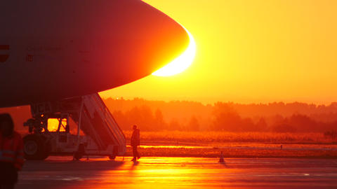 4K UHD Stock footage Cargo Plane Against Sunrise Footage