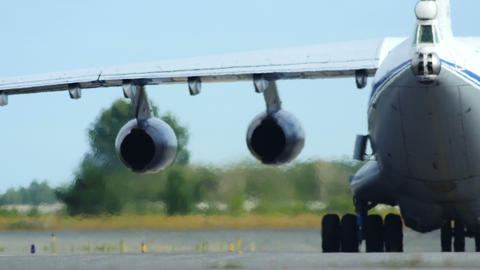 4K UHD Stock footage Military Cargo Plane Taxiing Footage
