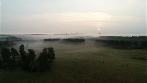 Aerial Stock Footage Countryside at the Foggy Morn Stock Video Footage