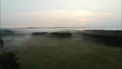 Aerial Stock Footage Countryside at the Foggy Morn Footage