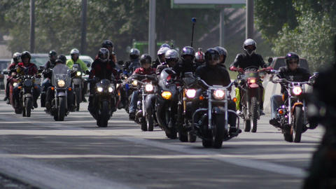 Stock Footage Long Focus Bikers Column on the Higw Stock Video Footage