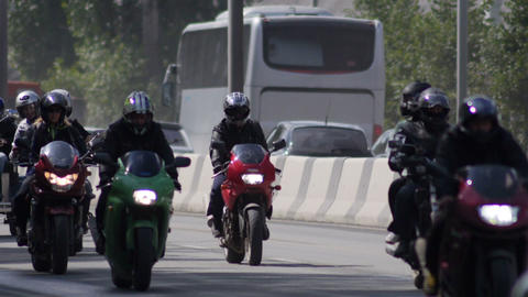 Stock Footage Bikers on the Higway Sequence Footage
