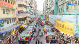 4k timelapse video of a street market in Hong Kong Footage