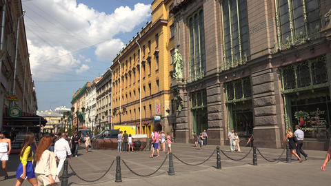 Malaya sadovaya street in St. Petersburg. 4K Stock Video Footage