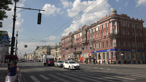 Nevsky prospect. Saint-Petersburg. 4K Live Action