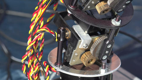 Pinion mechanism of the robot. 4K Footage