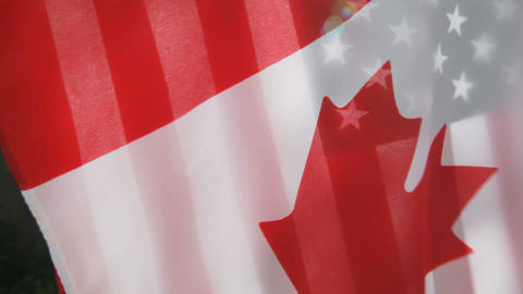 USA and Canada flags Stock Video Footage