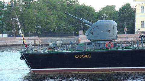 The gun battle warship. 4K Stock Video Footage