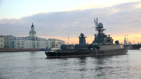 Russian military naval ship. 4K Stock Video Footage