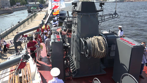 Deck Russian combat naval ship. 4K Footage
