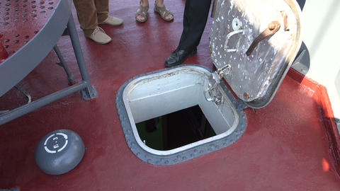 Deck hatch warship. 4K Footage