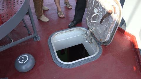 Deck hatch warship. 4K Stock Video Footage