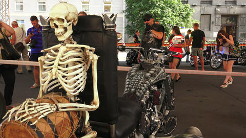 Skeleton on Harley Davidson bike. 4K Stock Video Footage