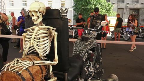 Skeleton on Harley Davidson bike. 4K Stock Video Footage