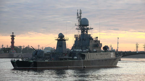Russian military naval ship. 4K Footage