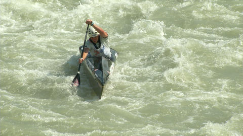 wildwater canoeing man 03 Footage