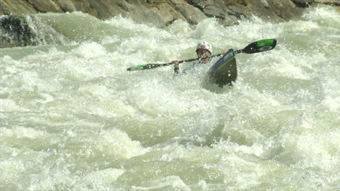 wildwater canoeing woman slow motion 05 Stock Video Footage