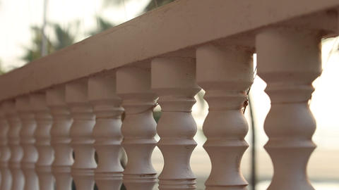 Balcony Rail Close To The Beach stock footage
