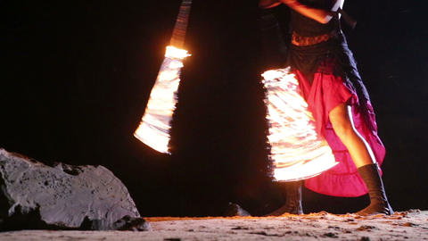 Artist turns the fiery fire-snakes fire performanc Stock Video Footage
