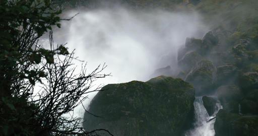 4K, Heavy Spraying Waterfall, Norway Footage